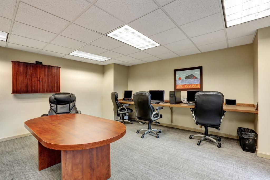 Image of office with clean carpet thanks to affordable commercial carpet cleaning Provo